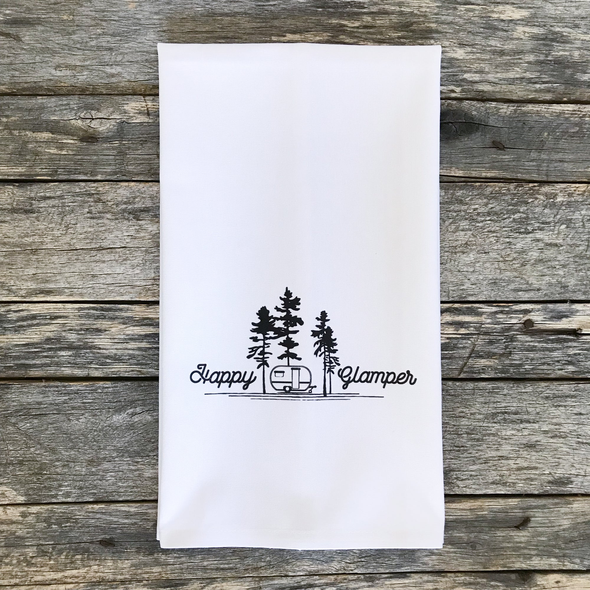 Happy Glamper Tea Towel - Linen and Ivory