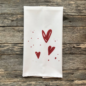 Hearts Tea Towel - Linen and Ivory