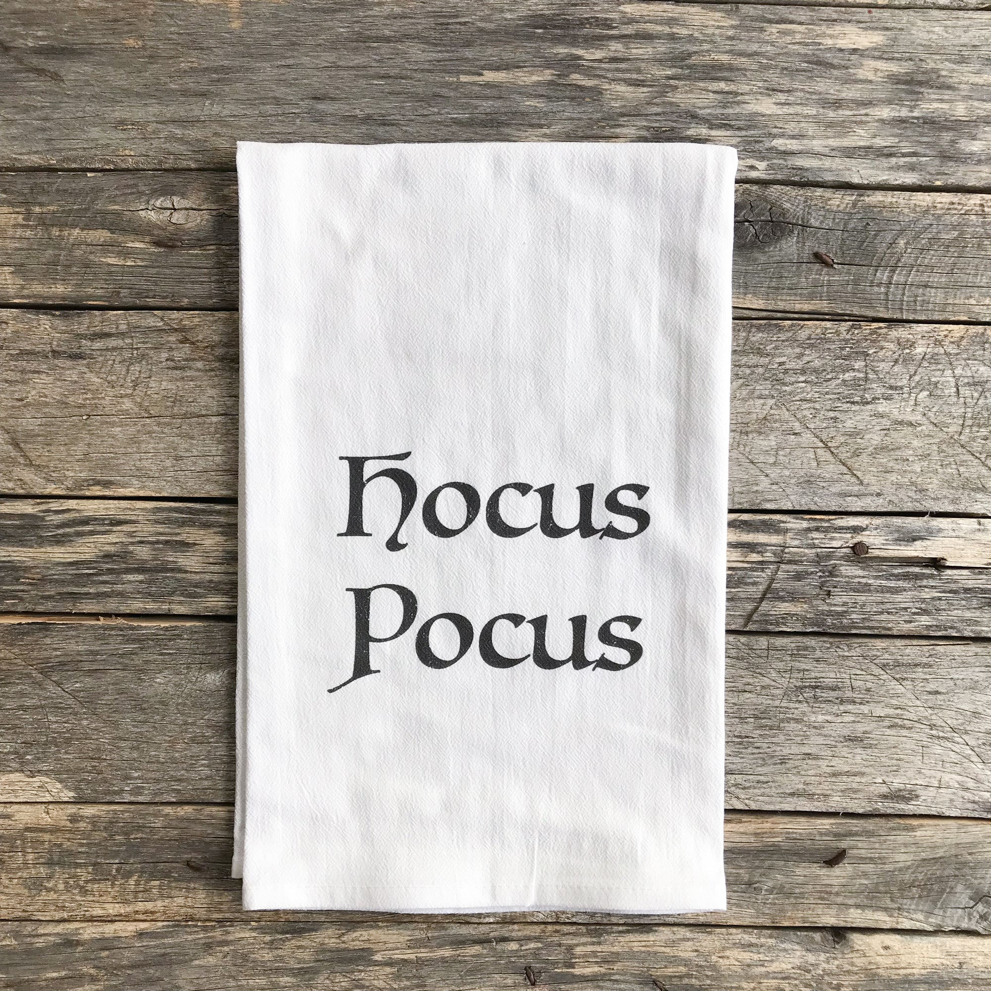 Hocus Pocus Halloween Tea Towel - Linen and Ivory