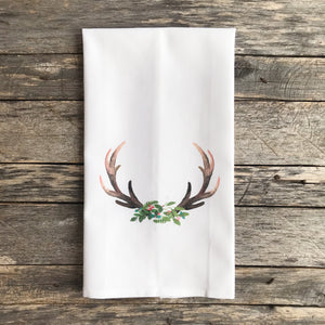 Holiday Antler Tea Towel - Linen and Ivory