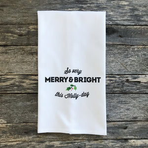Holly Day Tea Towel - Linen and Ivory