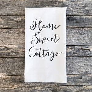 Home Sweet Cottage Tea Towel - Linen and Ivory