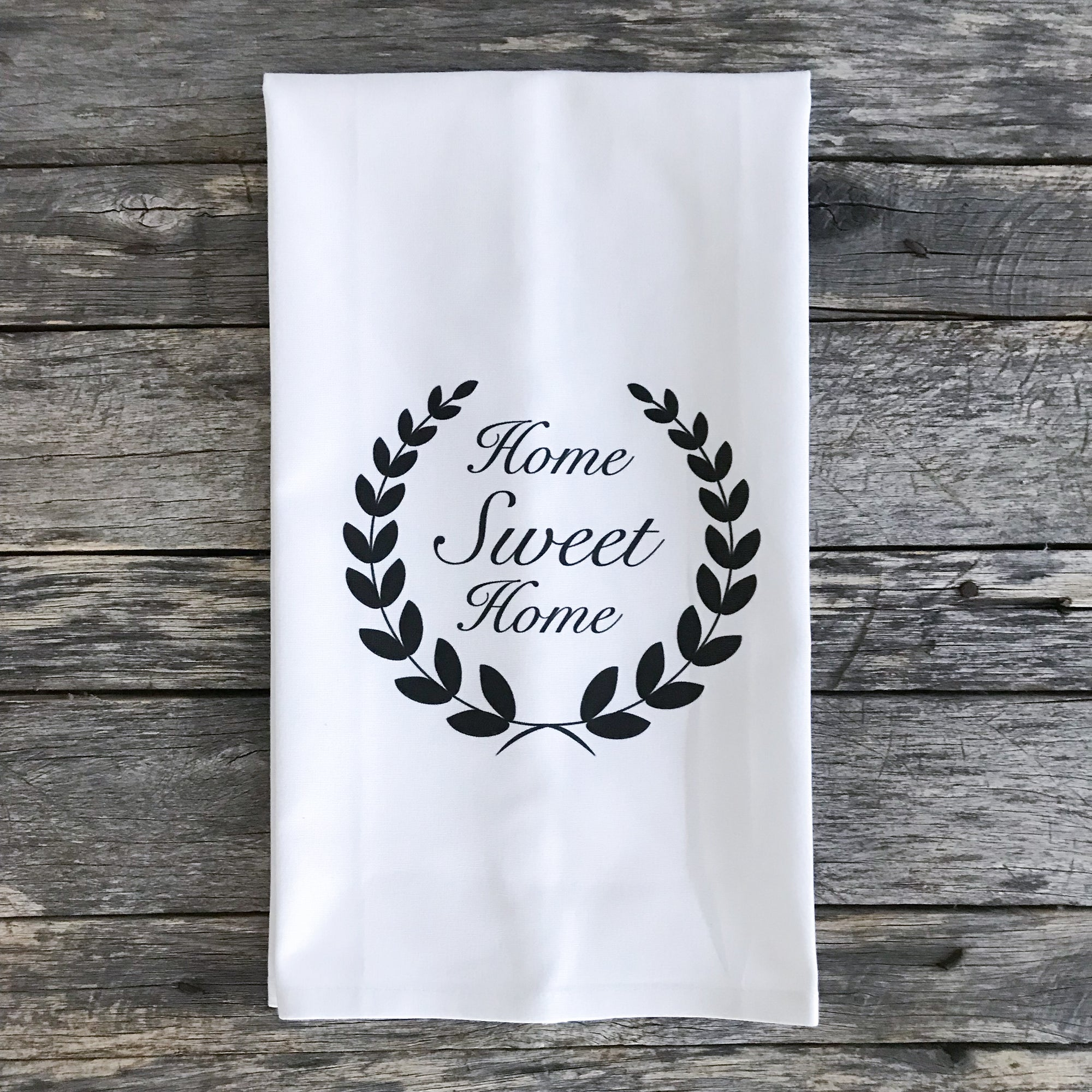 Home Sweet Home Laurel Wreath Tea Towel - Linen and Ivory