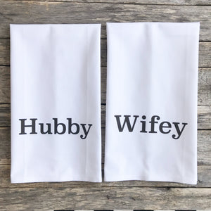 Hubby & Wifey Tea Towels - Linen and Ivory