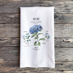 Hydrangea Botanical Tea Towel - Linen and Ivory