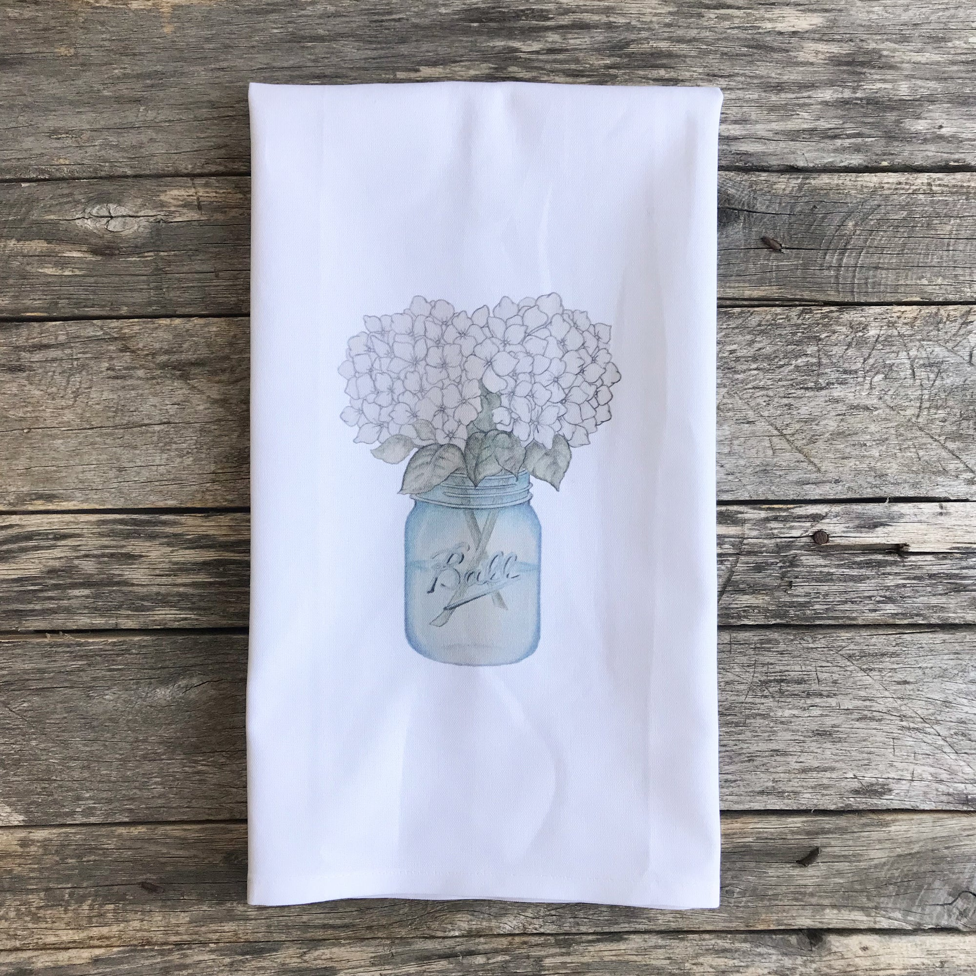 Hydrangeas Mason Jar Tea Towel - Linen and Ivory