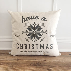 Scandanavian Holly Jolly Pillow Cover (Black) - Linen and Ivory