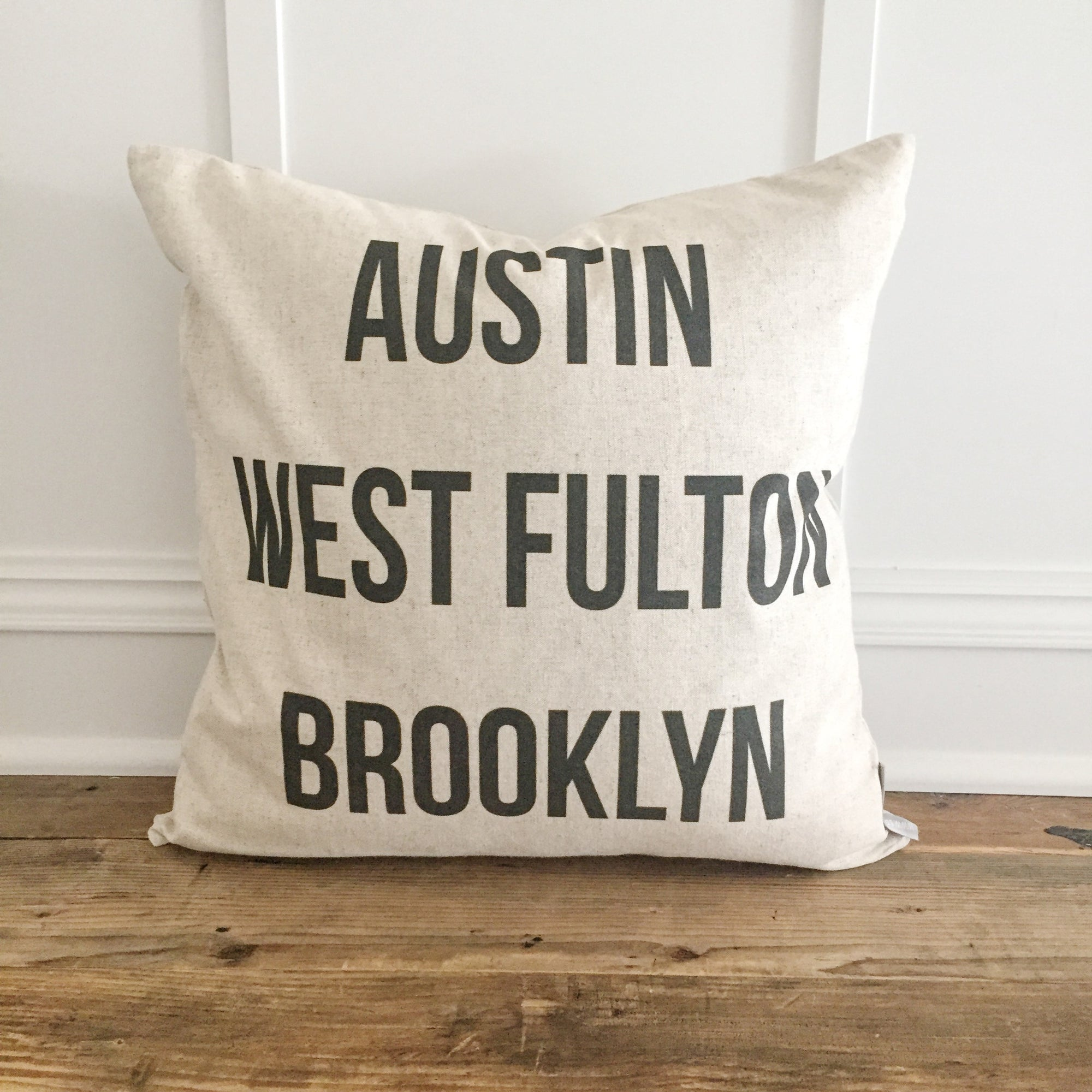Custom Cities Pillow Cover - Linen and Ivory