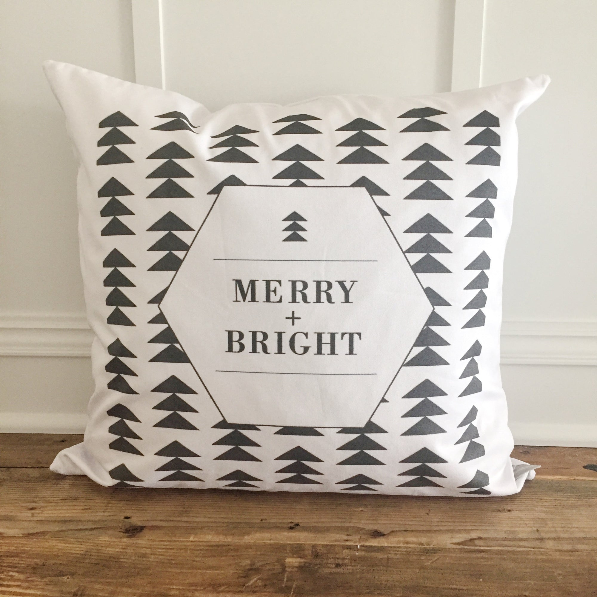 Merry + Bright Geometric Pillow Cover - Linen and Ivory