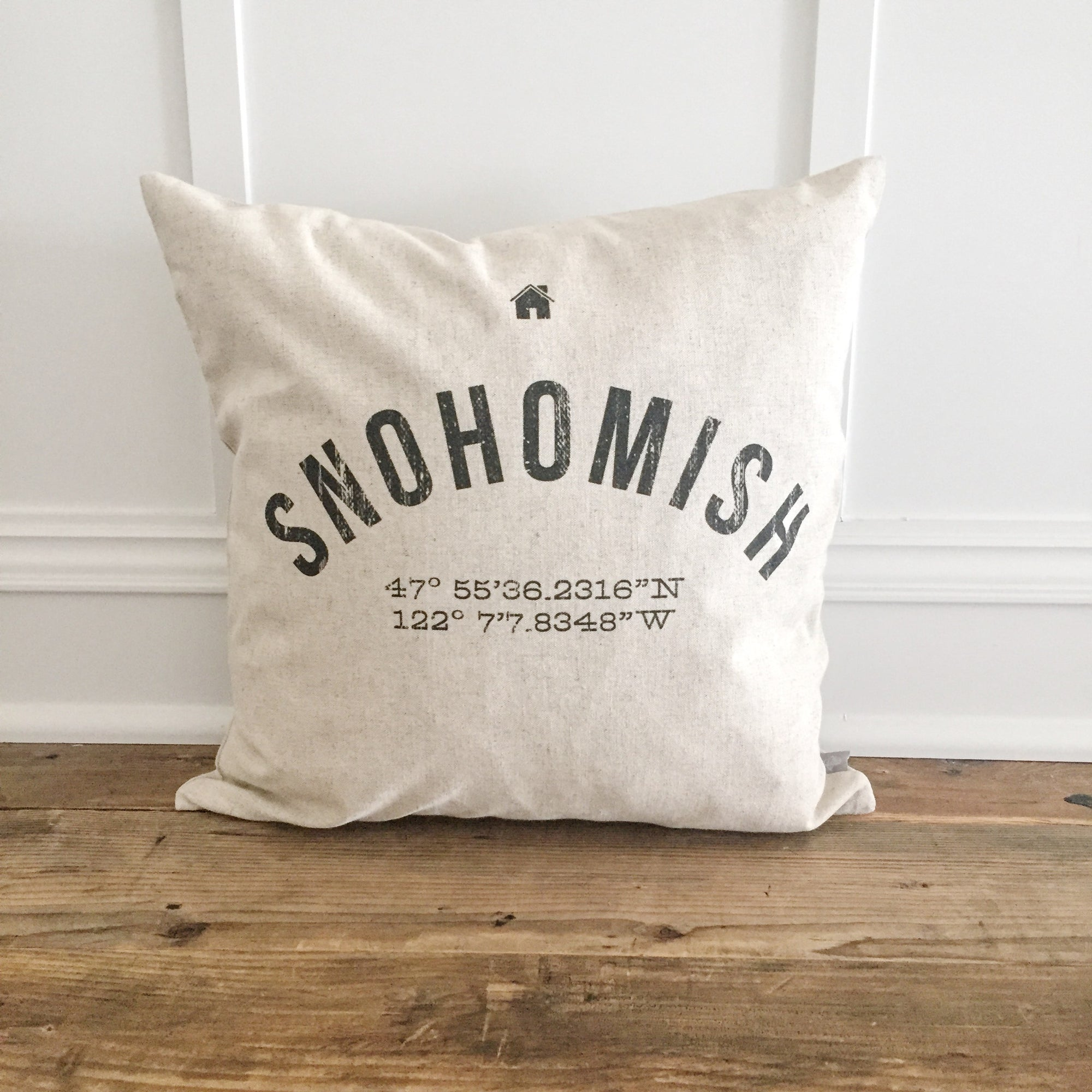 Custom City & Coordinates Pillow Cover - Linen and Ivory