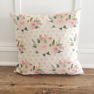 Floral Pattern Pillow Cover - Linen and Ivory