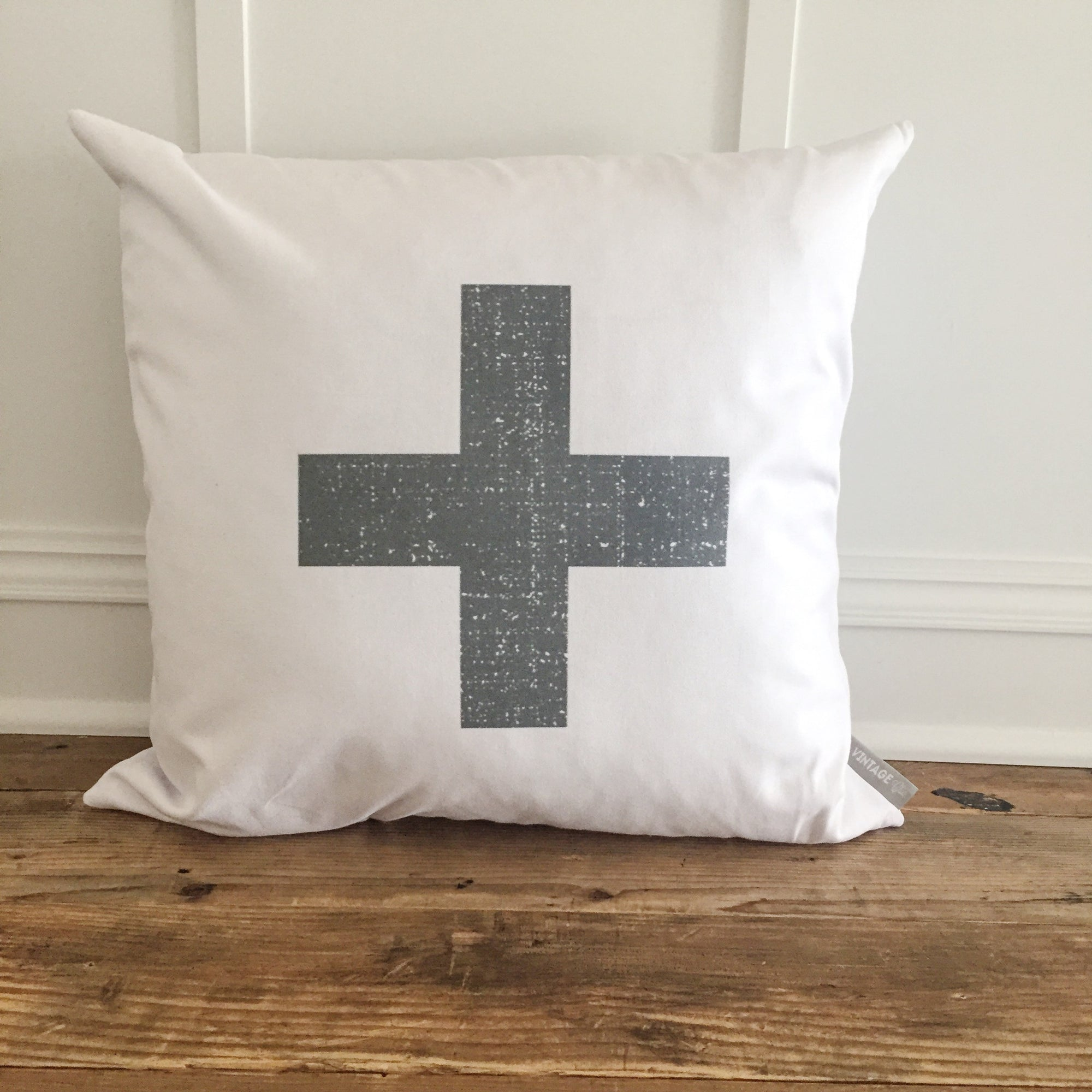 Distressed Swiss Cross Pillow Cover (Charcoal) - Linen and Ivory