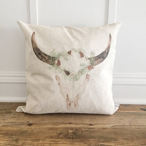 Aztec Cow Pillow Cover (Holiday) - Linen and Ivory