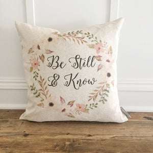 Be Still & Know Pillow Cover - Linen and Ivory