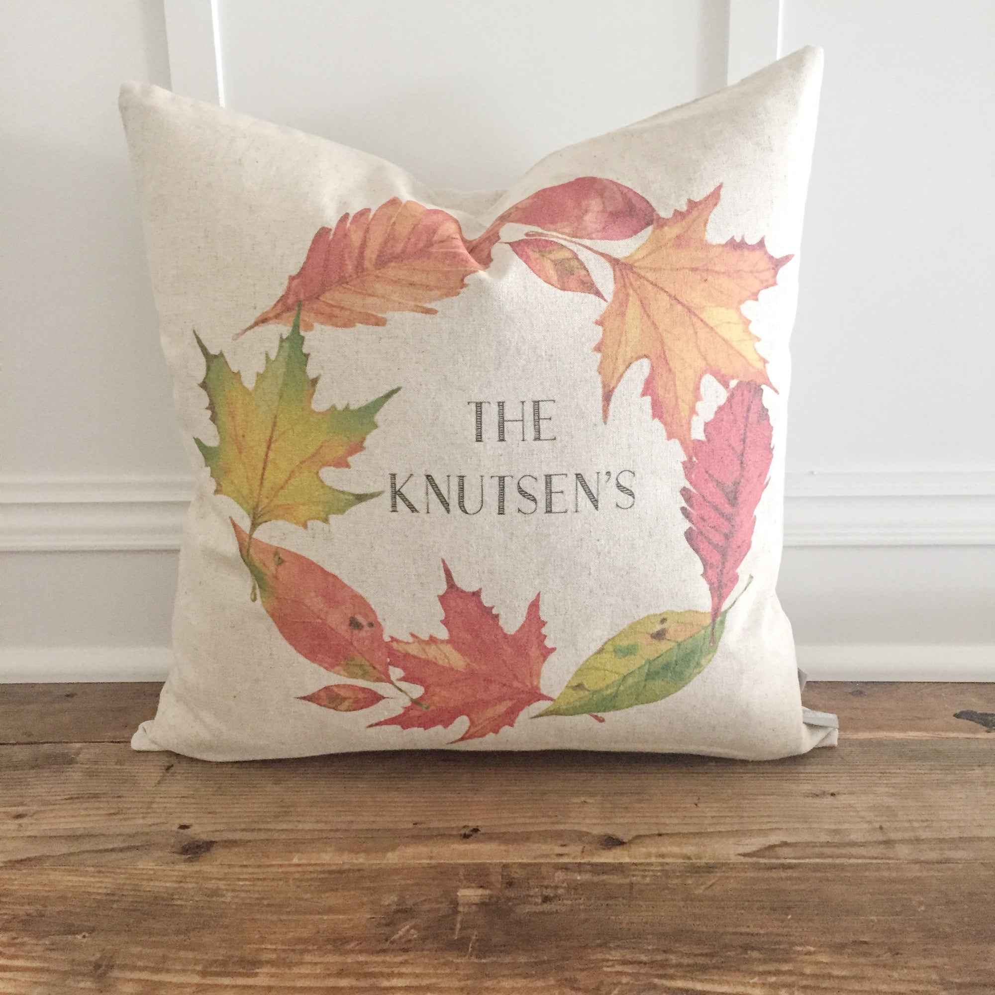 Custom Fall Name Wreath Pillow Cover - Linen and Ivory