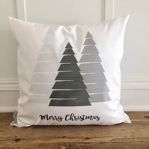 Striped Trees Pillow Cover - Linen and Ivory