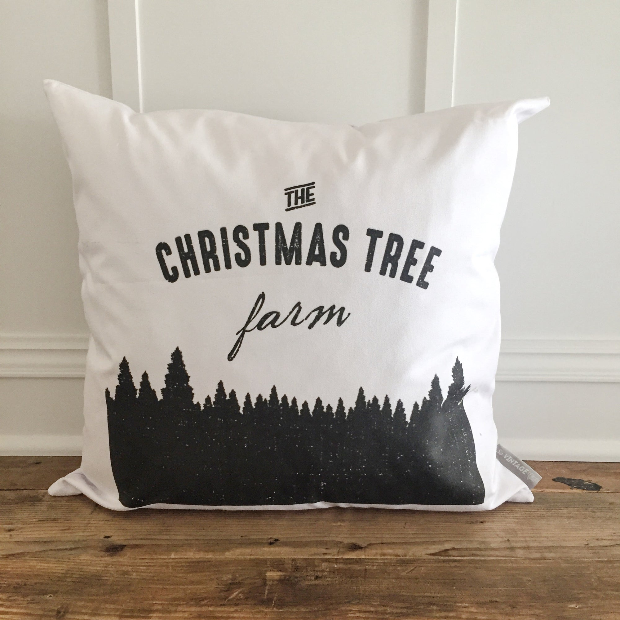 Christmas Tree Farm Pillow Cover (Design 2) - Linen and Ivory