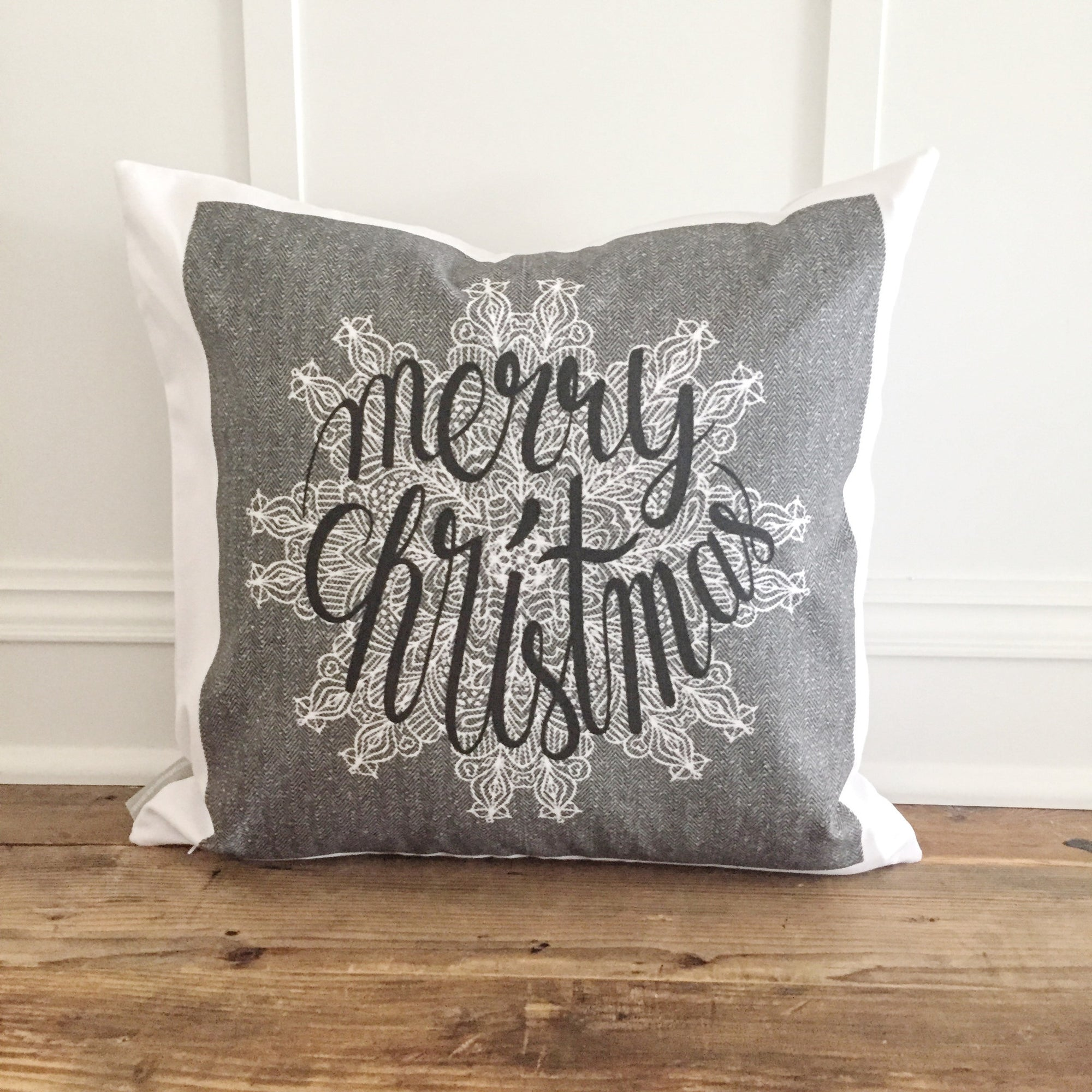 Herringbone Merry Christmas Pillow Cover - Linen and Ivory