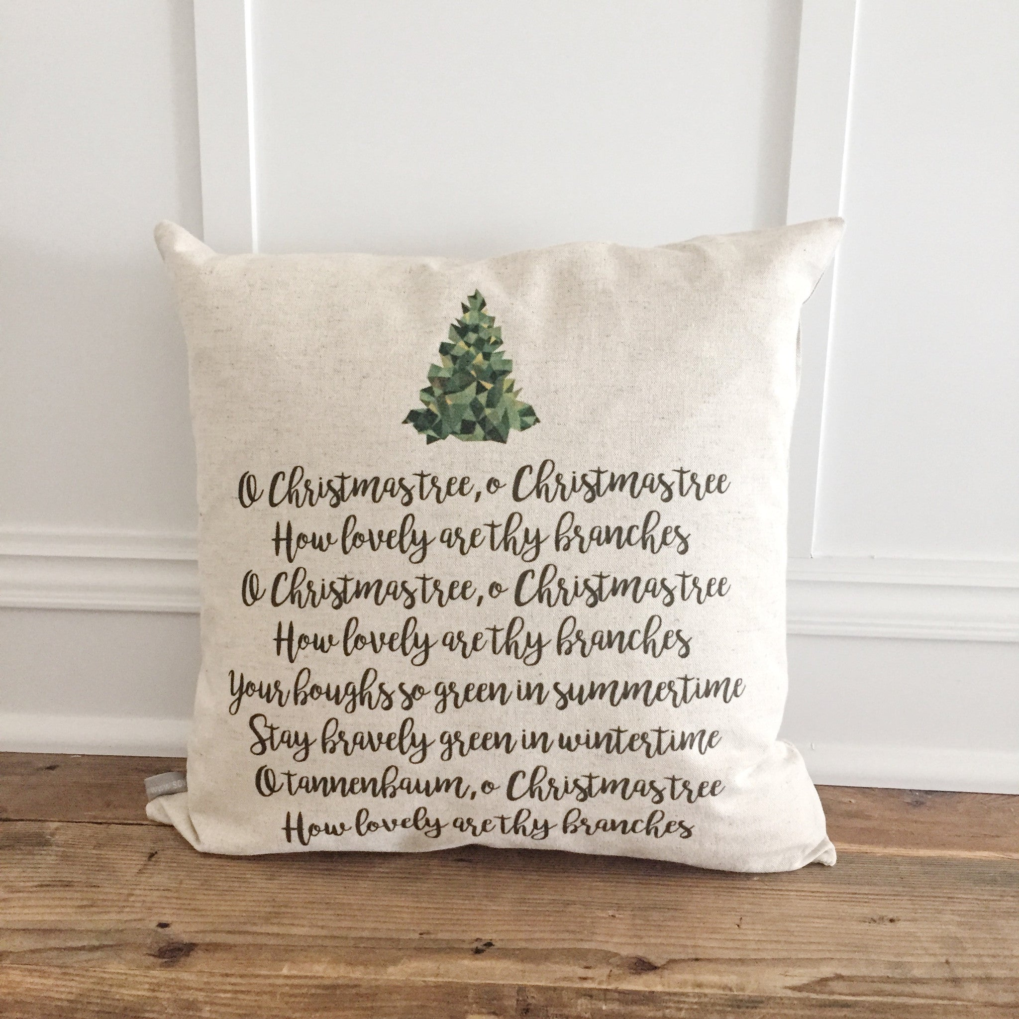 O Christmas Tree Lyrics Pillow Cover - Linen and Ivory