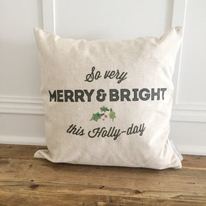 Holly Day Pillow Cover - Linen and Ivory