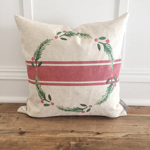Grainsack Wreath Pillow Cover - Linen and Ivory