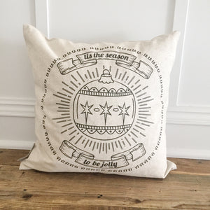 Falalalala Ornament (Black) Pillow Cover - Linen and Ivory