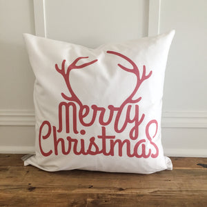Merry Christmas Antlers (Red) Pillow Cover - Linen and Ivory