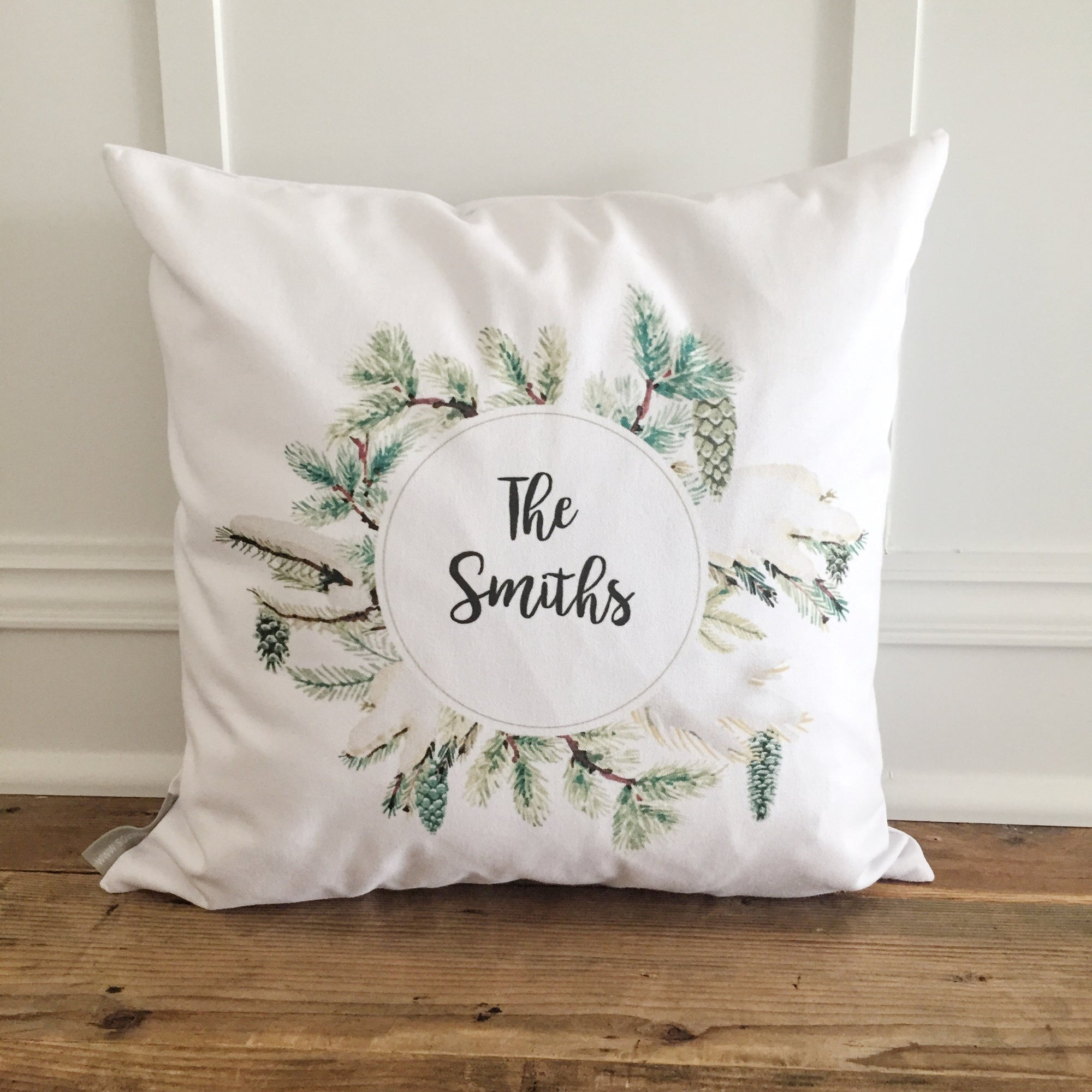 Custom Pinecone Wreath Pillow Cover - Linen and Ivory