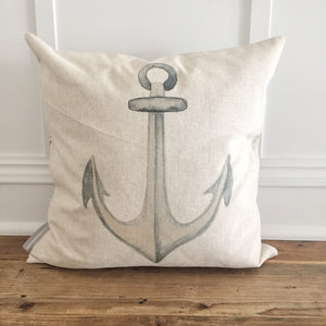 Watercolor Anchor Pillow Cover - Linen and Ivory
