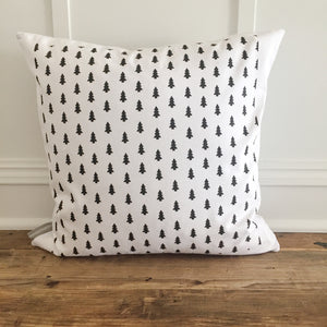Tree Stamp Pillow Cover (Design 2) - Linen and Ivory