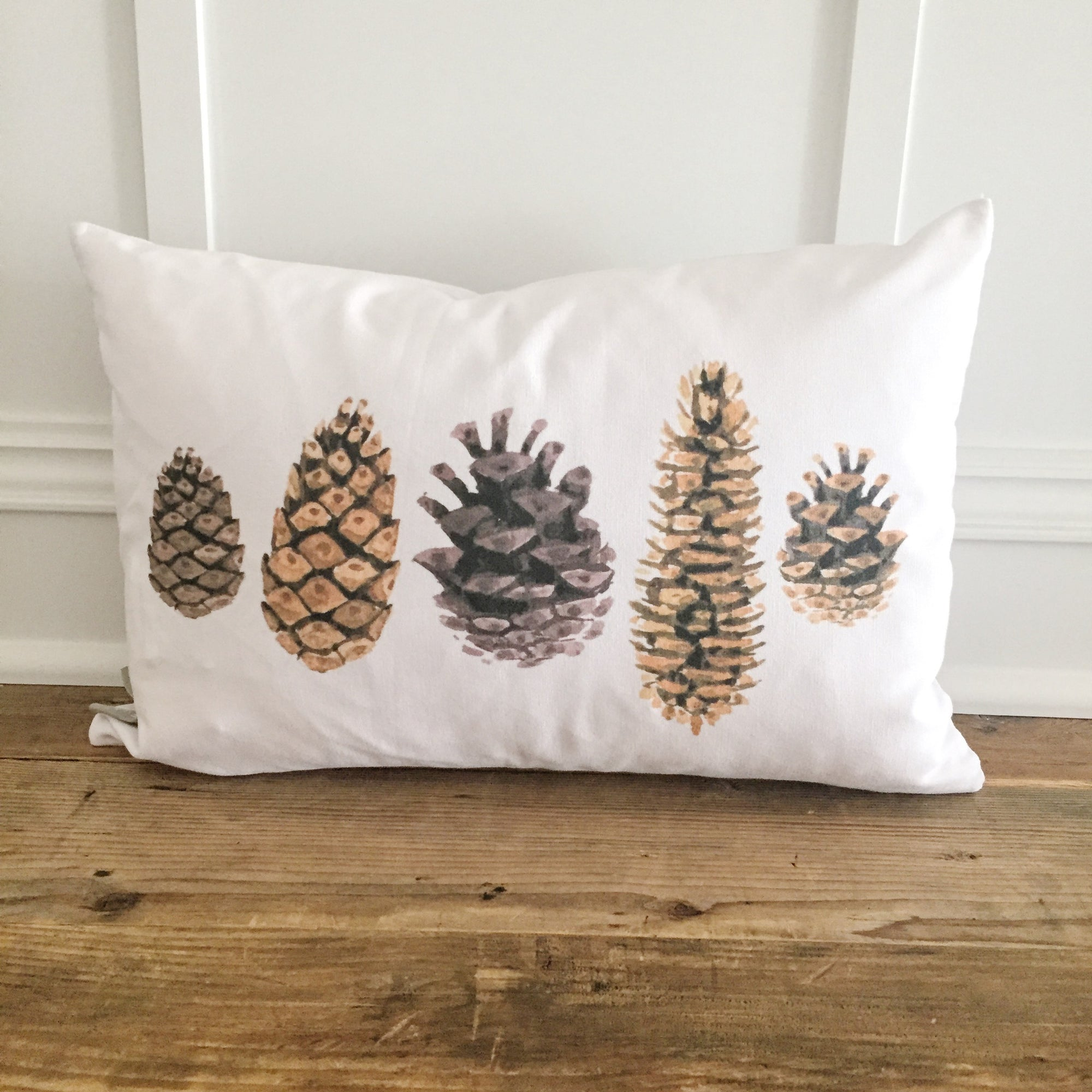 Watercolor Pinecone Pillow Cover - Linen and Ivory