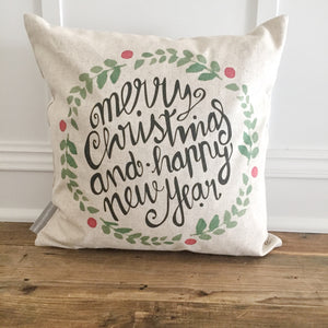 Merry Christmas & Happy New Year Wreath Pillow Cover - Linen and Ivory