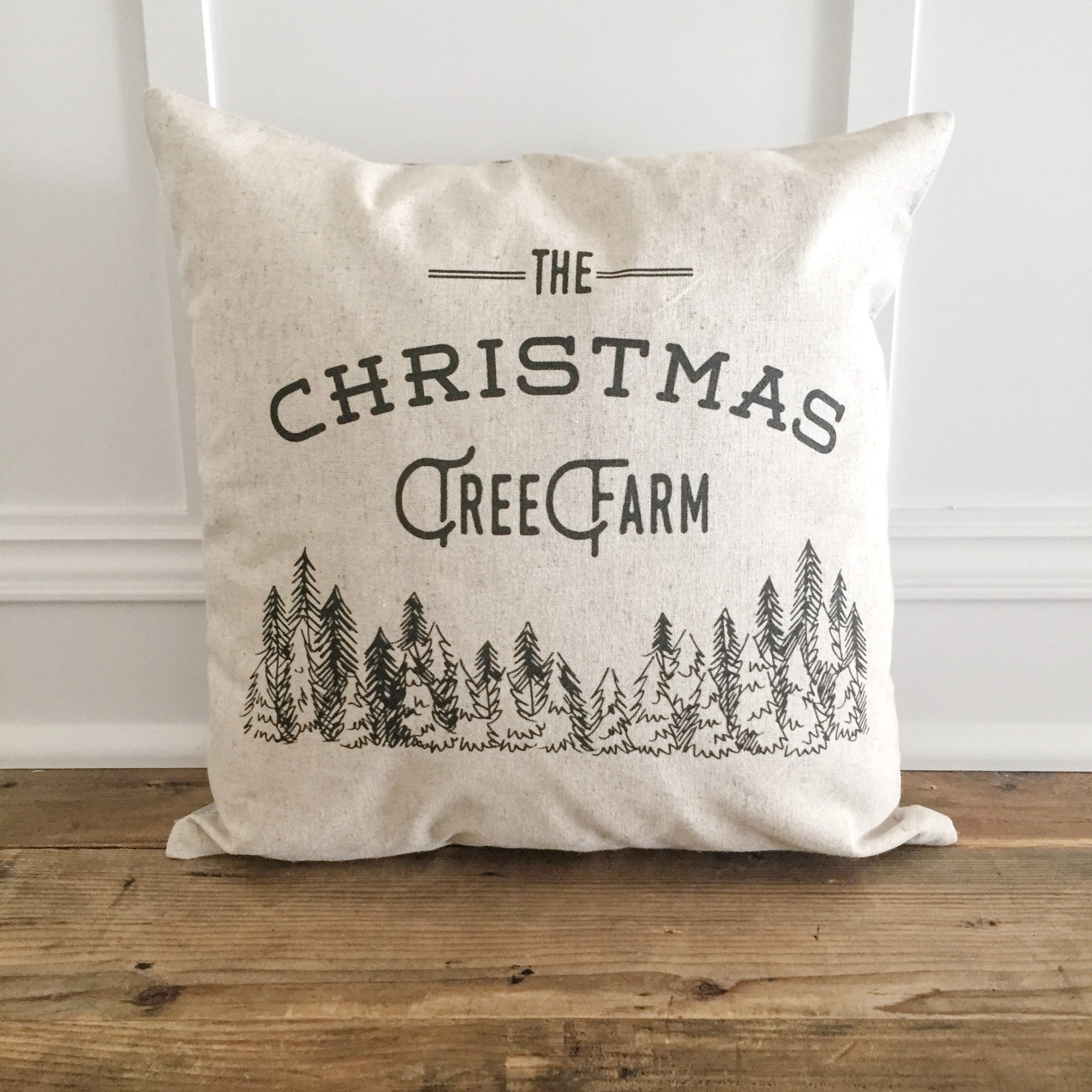 Christmas Tree Farm Pillow Cover (Design 1) - Linen and Ivory