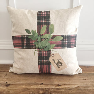 Tartan Plaid Gift Pillow Cover - Linen and Ivory