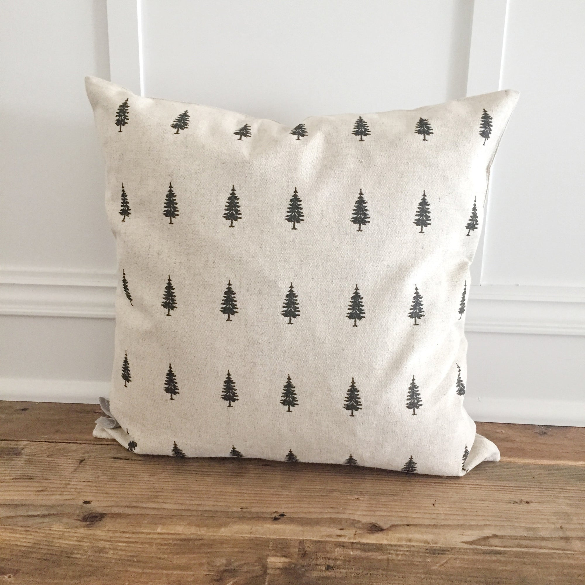Tree Stamp Pillow Cover (Design 1) - Linen and Ivory