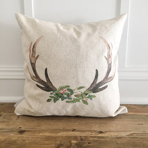 Holiday Deer Antler Pillow Cover - Linen and Ivory