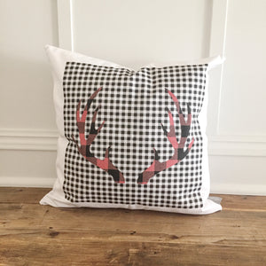 Dual Buffalo Plaid Antlers Pillow Cover - Linen and Ivory