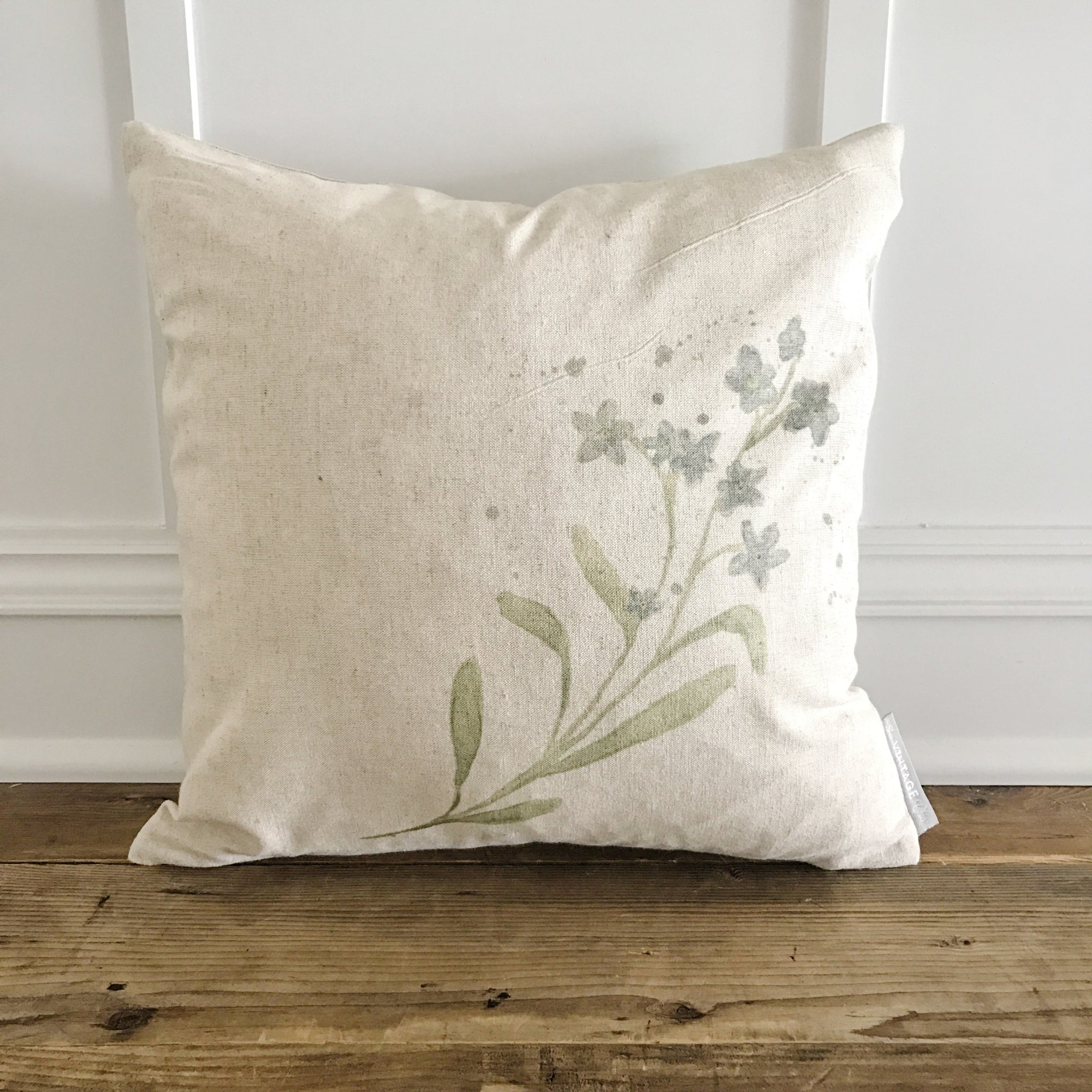 Watercolor Forget-Me-Nots Pillow Cover - Linen and Ivory