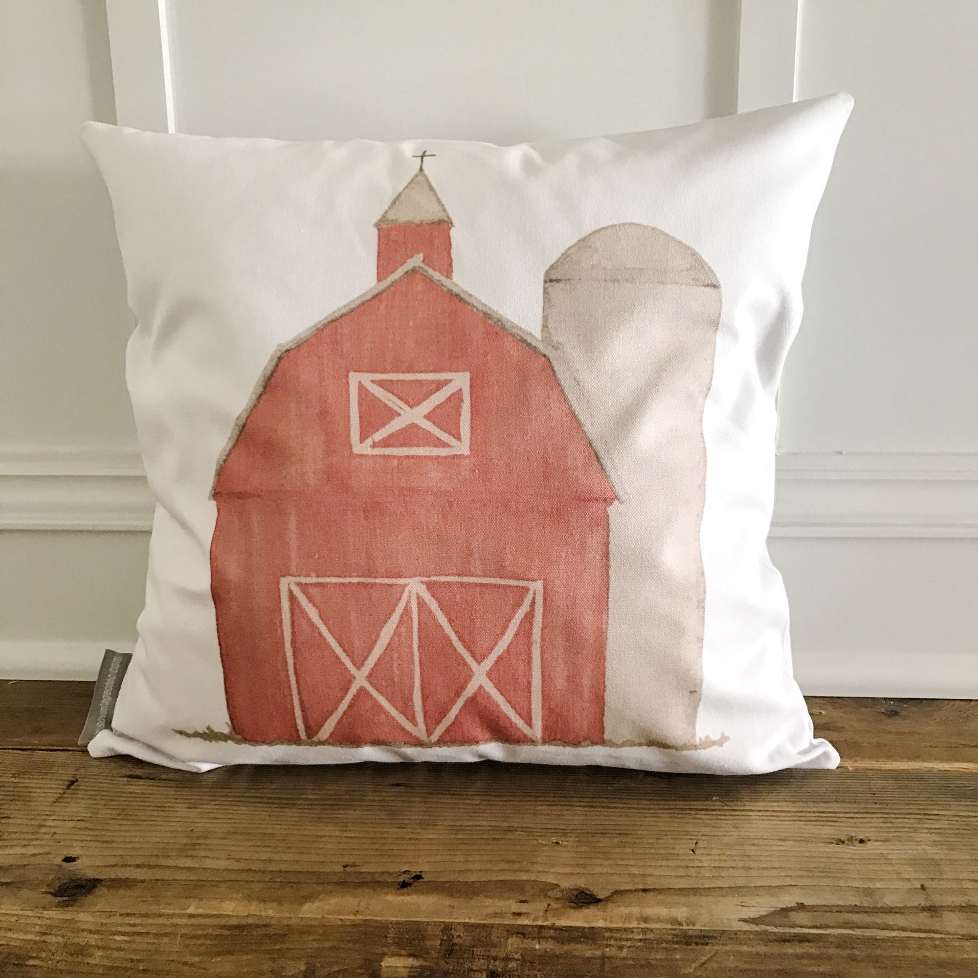 Watercolor Barn Pillow Cover (Red) - Linen and Ivory
