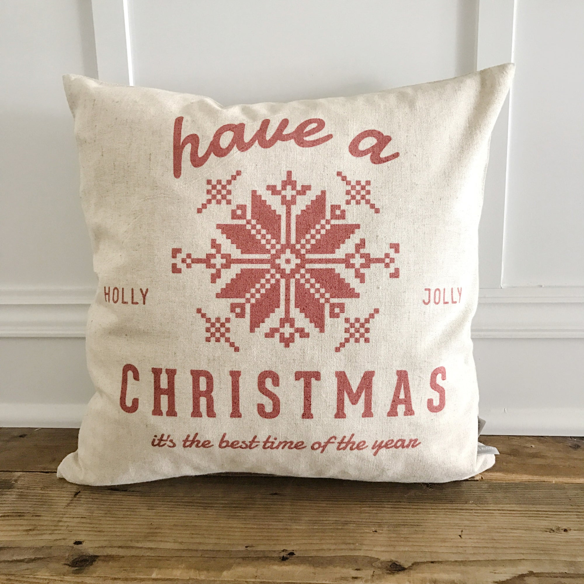Scandanavian Holly Jolly Pillow Cover (red) - Linen and Ivory