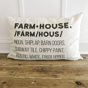 Farmhouse Definition Pillow Cover - Linen and Ivory