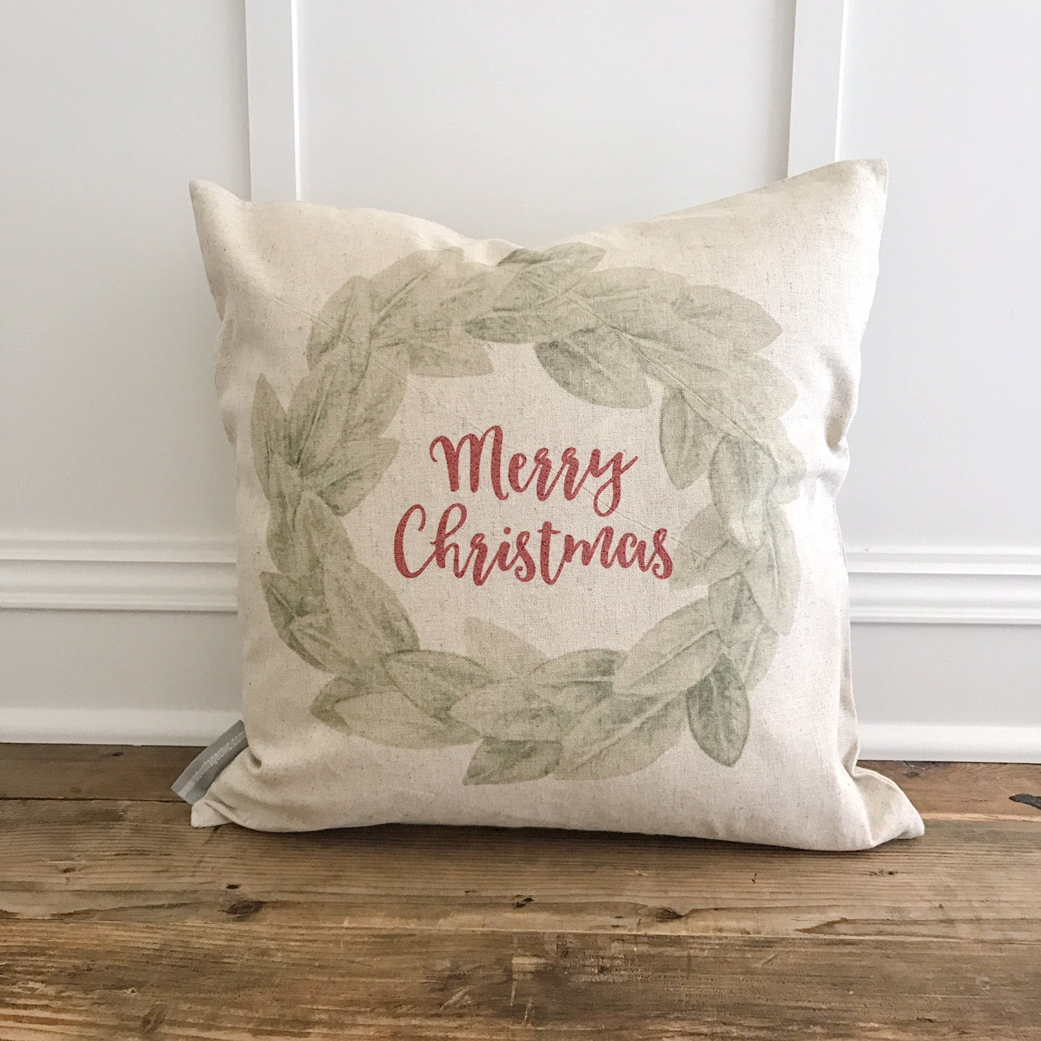 Merry Christmas Magnolia Wreath Pillow Cover - Linen and Ivory