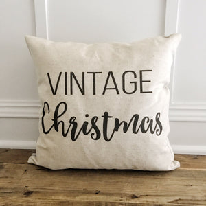 Vintage Christmas Pillow Cover (Black) - Linen and Ivory