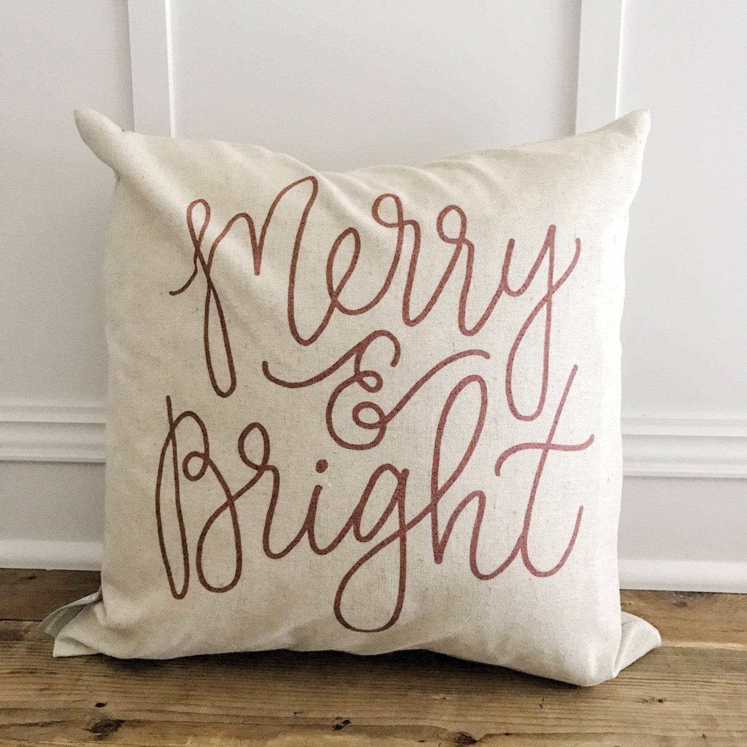 Merry & Bright Calligraphy Pillow Cover (Red) - Linen and Ivory