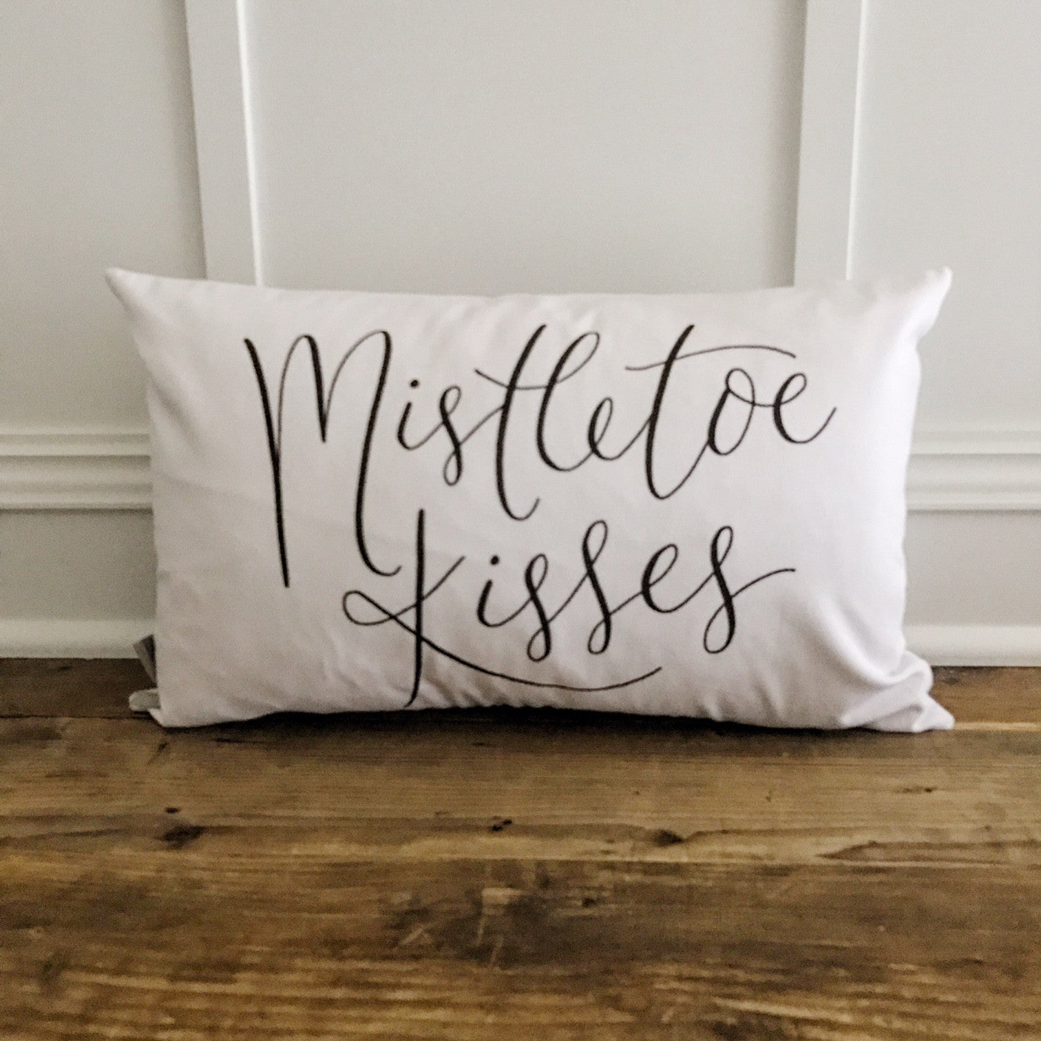 Mistletoe Kisses Pillow Cover (Black) - Linen and Ivory