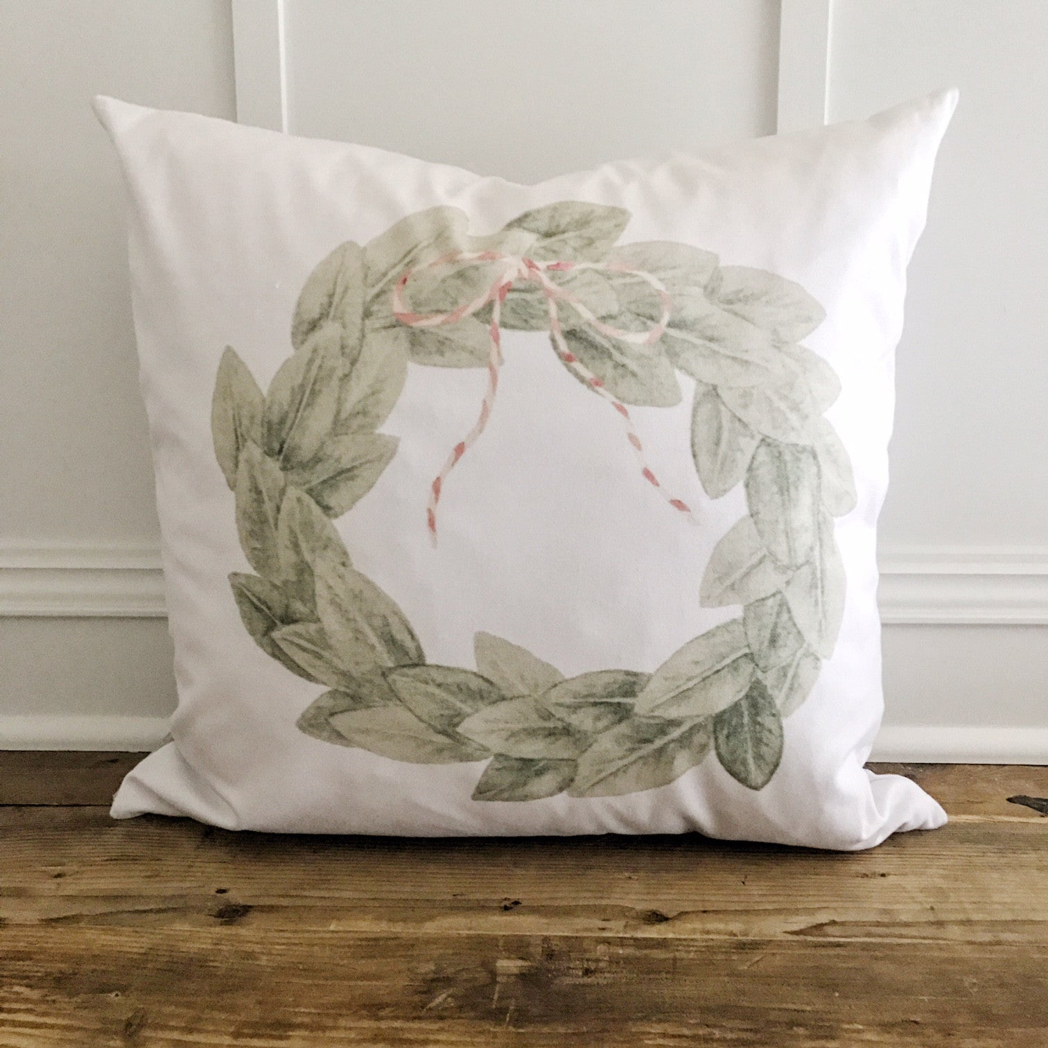Magnolia Wreath w/Red & White Bow Pillow Cover - Linen and Ivory