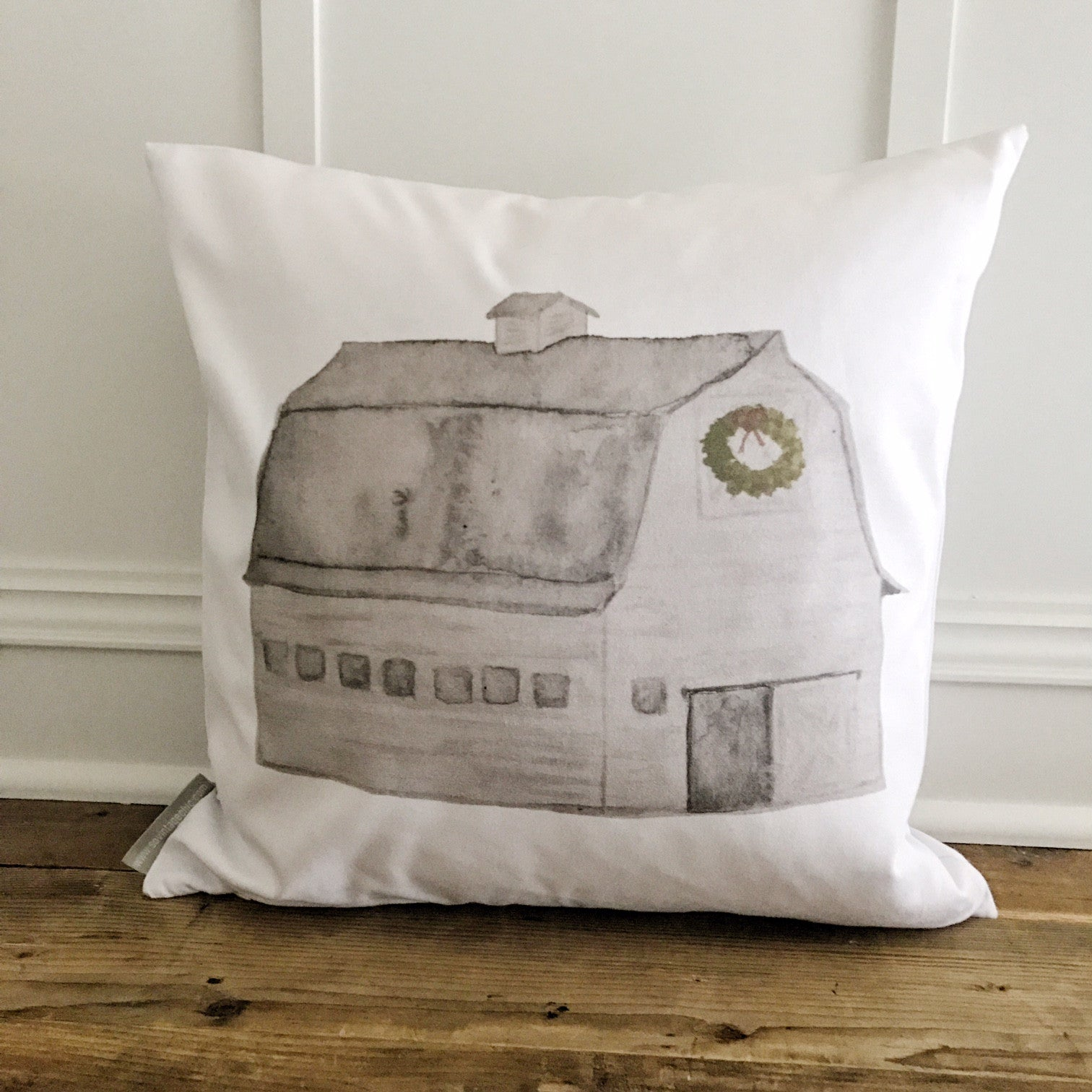 Christmas Barn Pillow Cover - Linen and Ivory