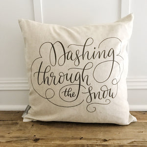 Dashing through the Snow Pillow Cover (Black) - Linen and Ivory