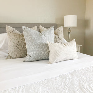 WILLOW || Light Gray Flowers Pillow Cover