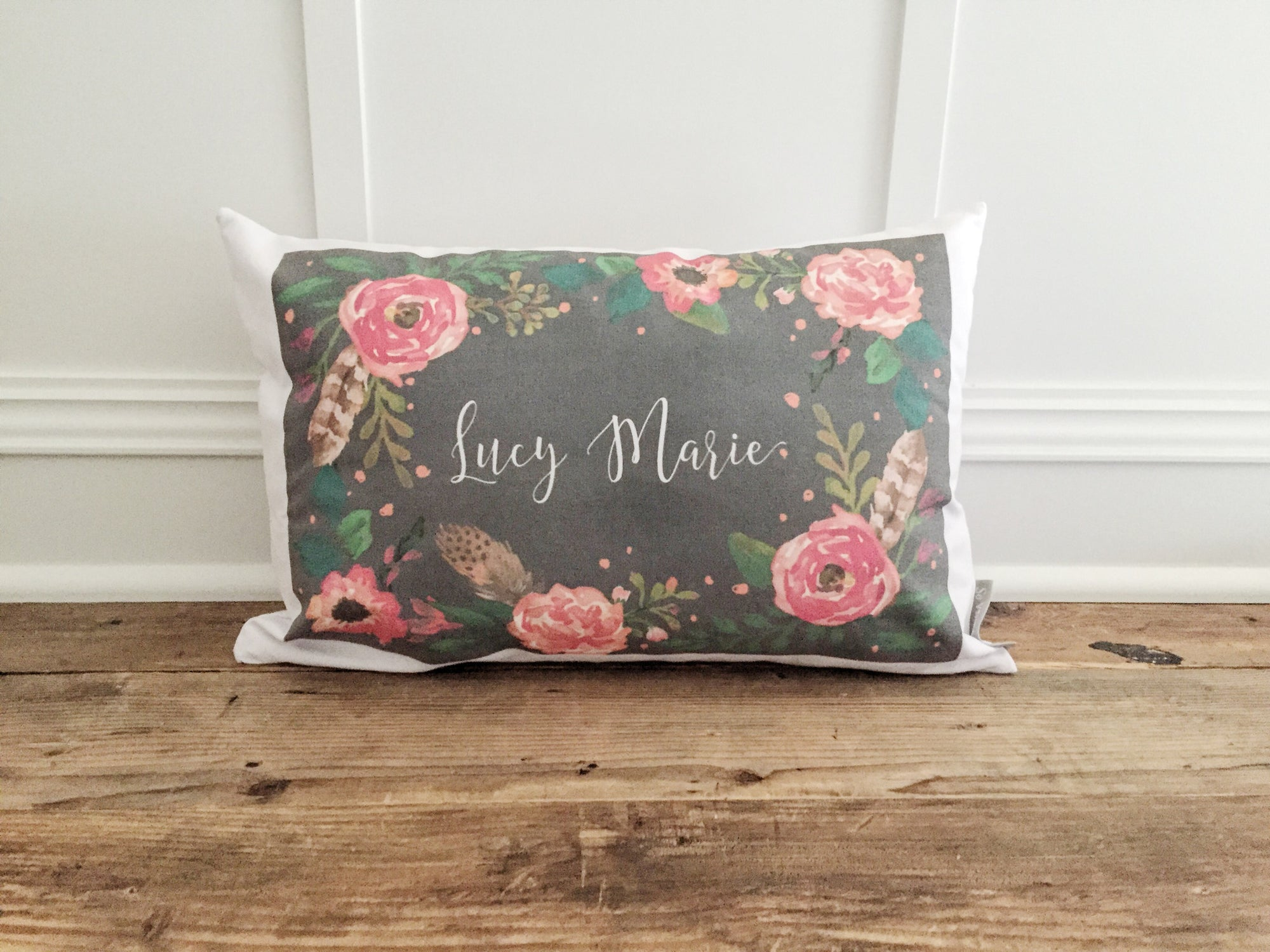 Custom Floral Name Chalkboard Pillow Cover - Linen and Ivory